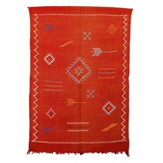 """Orange Vintage Moroccan Cactus Silk Rug - 3'2"""" X 4'8"""""""