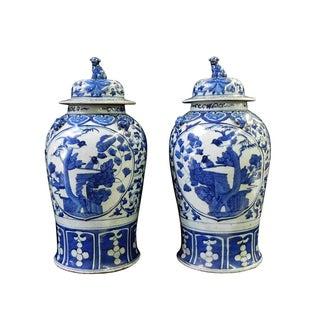 Chinese Blue & White General Jars - Pair