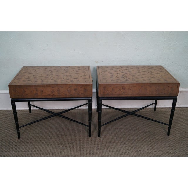Kittinger Thistle Faux Bamboo End Tables - Pair - Image 3 of 10