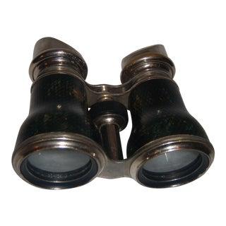 Chrome & Leather Binoculars - A Pair
