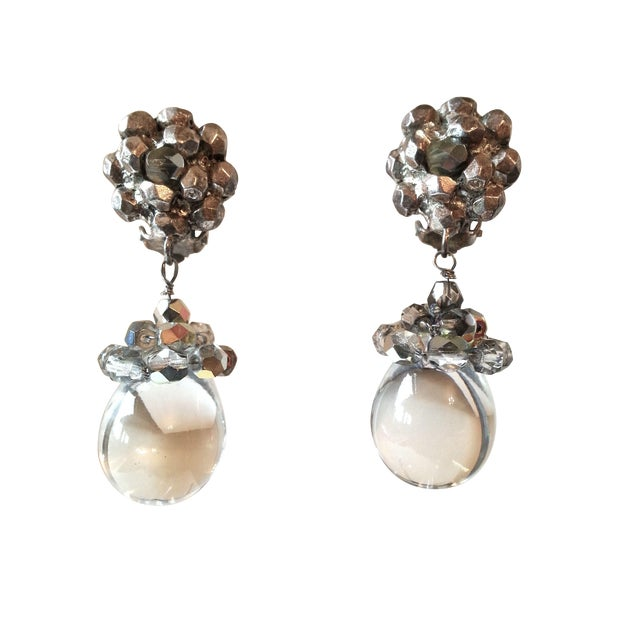 Image of Poggi Paris iridescent Crystal Clip-On Earrings