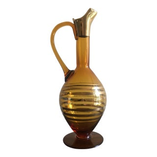 Mid-Century Amber Glass Decanter