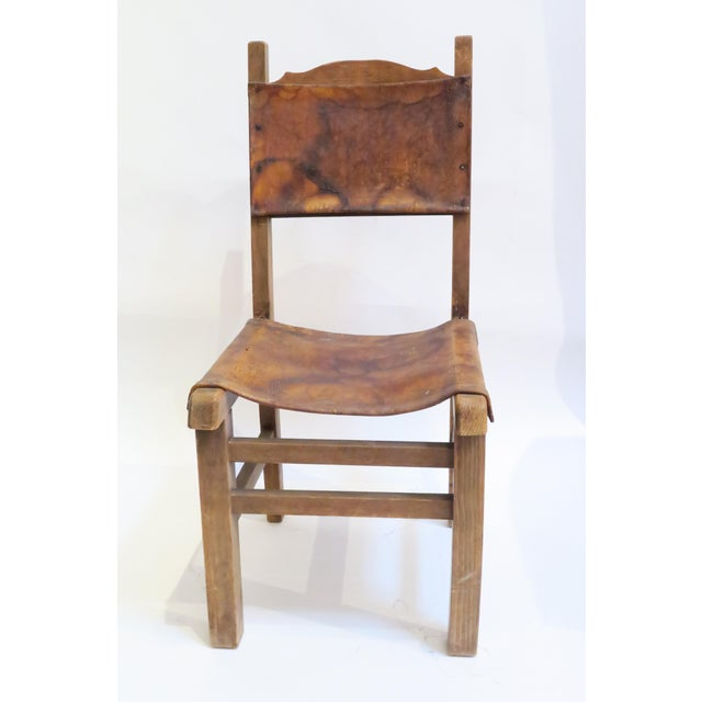 Rustic Wood & Leather Mission Style Chair - Image 2 of 6