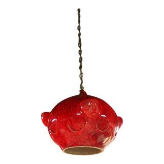 Mid-Century Modern Red Glazed Pottery Pendant Light Fixture