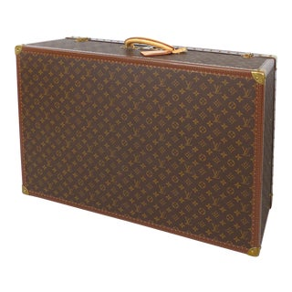 Louis Vuitton Alzer 80 Leather and Brass Suitcase & Original Protective Cover