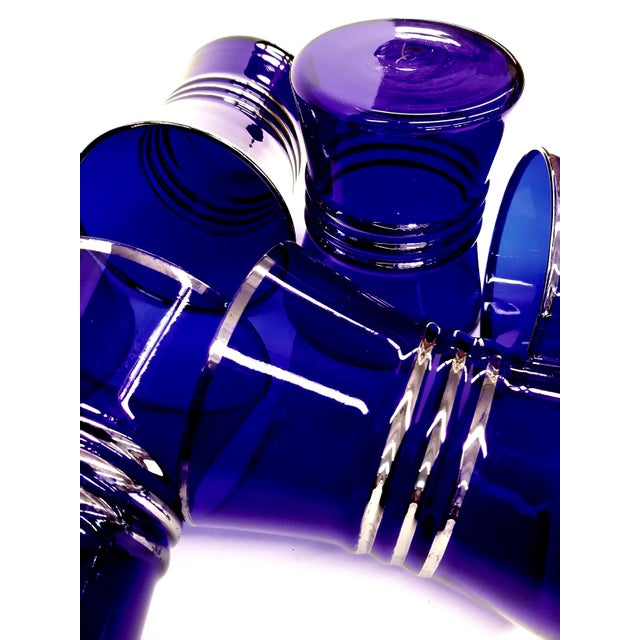 Cobalt Blue Shot/Juice Glasses W Silver Trim - S/6 - Image 3 of 9