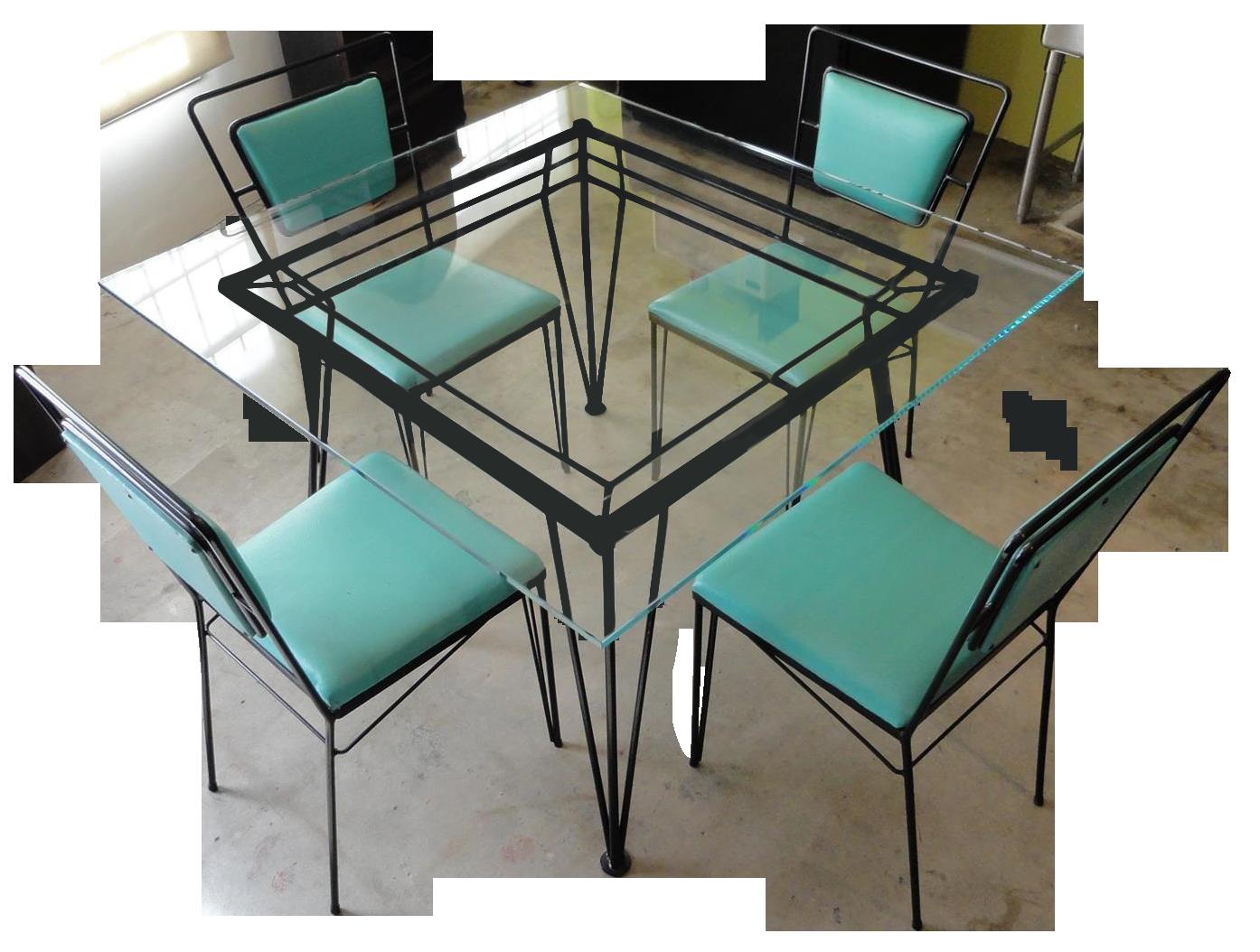 Atomic Age Mid Century Iron Dining Set   Image 1 Of 11