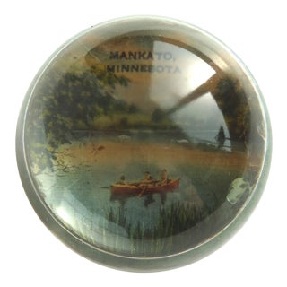 Mankato, Minnesota Vintage Cabin Glass Paperweight