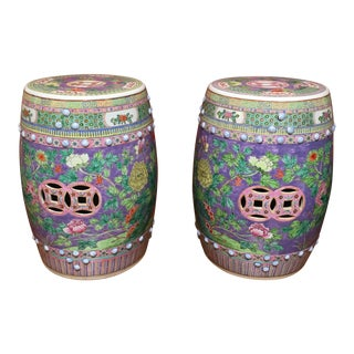 Pastel Colored Chinese Garden Stools - A Pair
