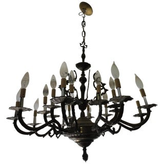Antique Decorative Ten-Arm Brass Chandelier