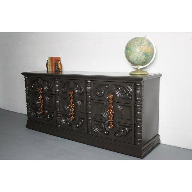 Hollywood Regency Gray & Bronze Dresser - Image 8 of 9