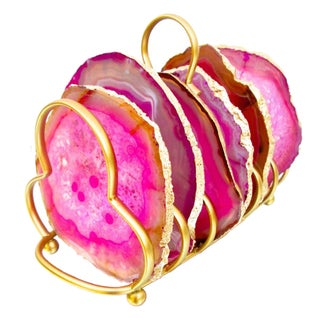 Gold Trim Hot Pink Sliced Brazilian Agate Coasters & Caddy - Set of 6