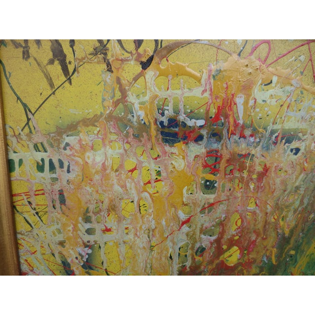 Large Colorful 1960s Abstract Oil - Image 4 of 8