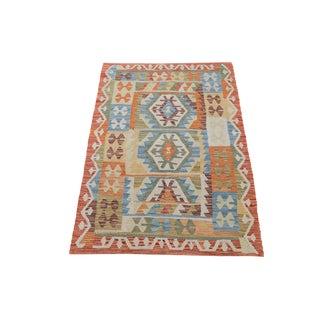 Afghani Design Vegetable Dyed Wool Kilim Rug - 3′3″ × 4′6″
