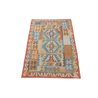 Afghani Design Vegetable Dyed Wool Kilim Rug - 3′3″ × 4′6″
