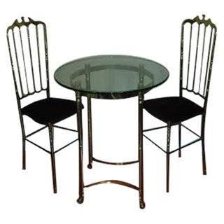 Brass Chiavari Chairs and Bistro Table