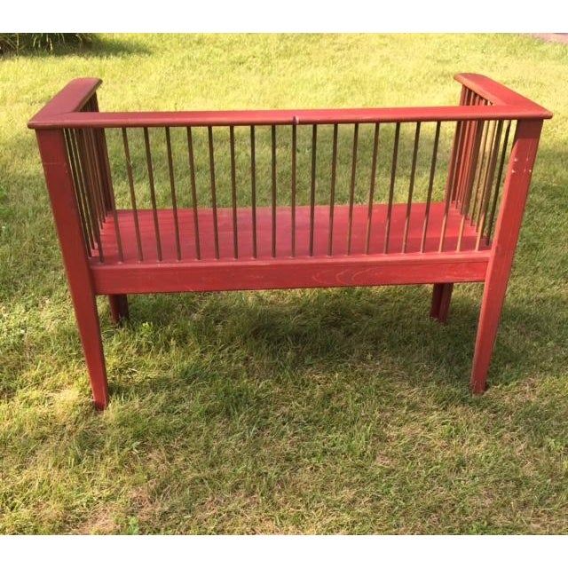 Spindle-Back Red Bench - Image 5 of 11