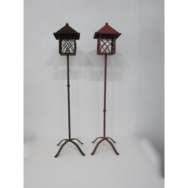 Metal Outdoor Lanterns - Pair - Image 2 of 5