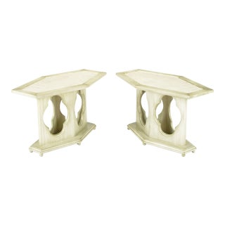 Pair of Moorish Style Glazed Ivory Lacquer and Travertine Hexagonal Side Tables