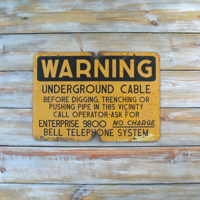 Image of Vintage Bell Telephone Warning Sign