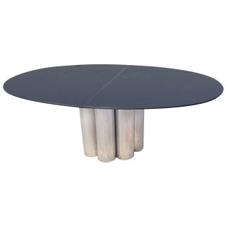 Lucite Top and Chrome Base Dining Table