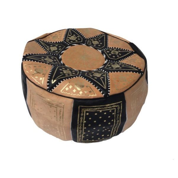 Image of Moroccan Black & Tan Hand Stitched Pouf