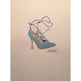 Contemporary Powder Blue High-Heeled Watercolor Painting