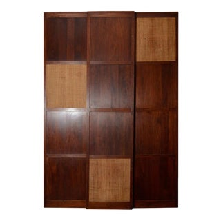 Solid Walnut Panels with Cane Inset on Wheels