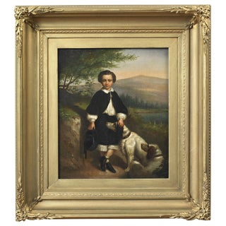 Portrait of a Young Boy with His Dogs Painting