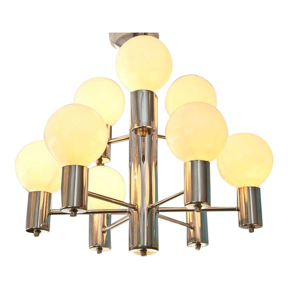 Mid-Century Modern Chrome Chandelier - Image 1 of 6