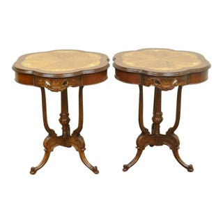 Antique French Floral Satinwood Inlaid Walnut End Accent Side Tables - a Pair