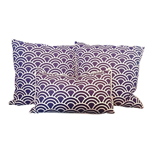 Navy & White Art Deco Arch Pillows - Set of 3 - Image 1 of 4