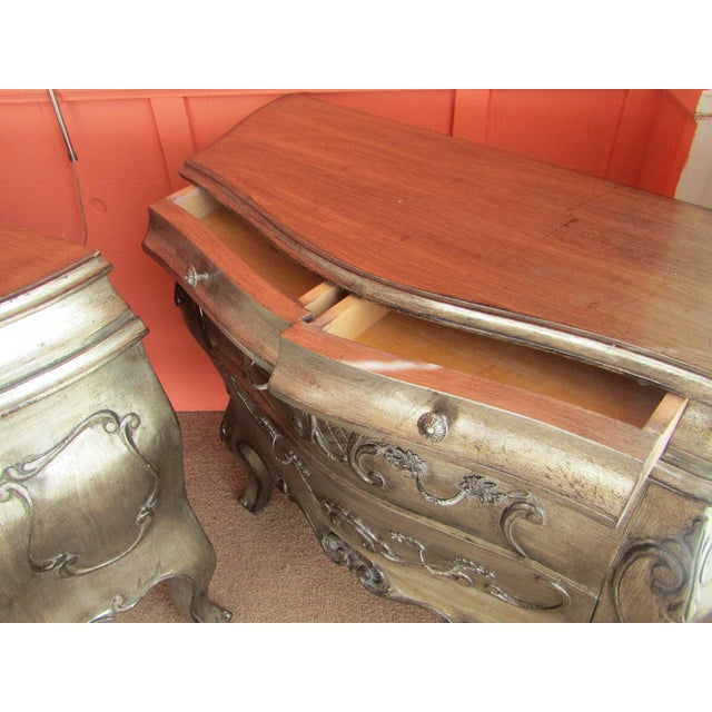 Bombay Style Nightstands, Side Tables in Antiqued Metalic Finish -- A Pair - Image 6 of 6
