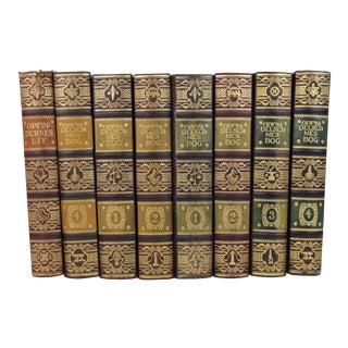 Art Deco Leather-Bound Books - Set of 8