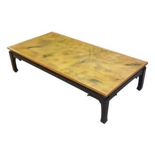 Vintage Chinoiserie Swirled Gold Top Coffee Table