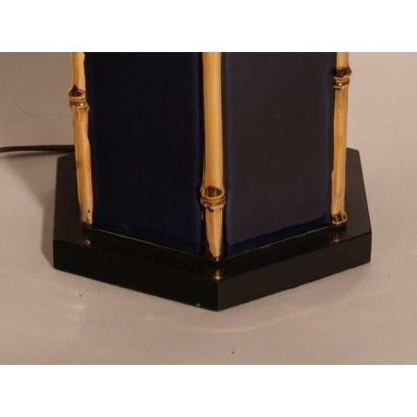 Image of Vintage Navy & Gold Ceramic Table Lamps - A Pair