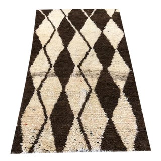 "Cream & Brown Moroccan Rug - 44"" x 92"""