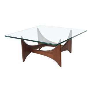 American Modern Pair of Walnut and Glass Low Tables by Adrian Pearsall
