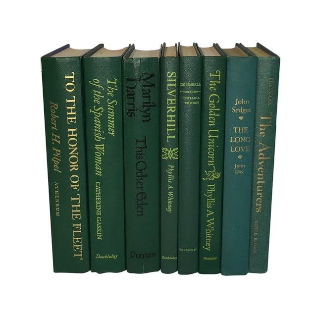 Image of Vintage Display Books in Dark Greens - Set of 8