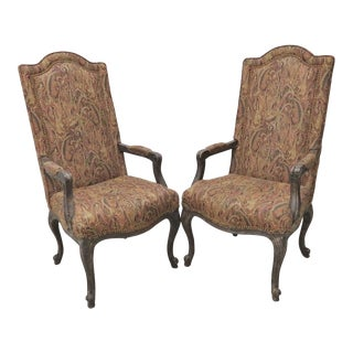 Harden French Style Upholstered Armchairs - A Pair