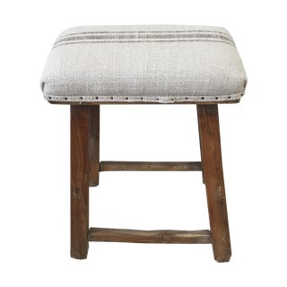 Farmhouse Stool With Grain Sack Upholstery