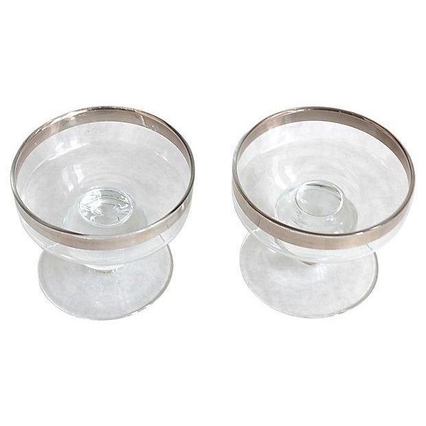 Image of Silver Rimmed Footed Bowls - Pair