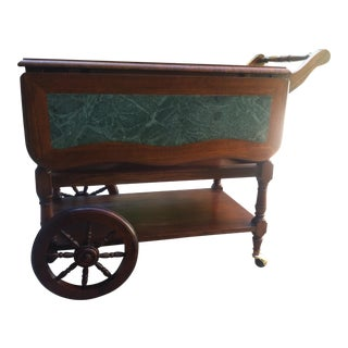 Ricardo Lynn Co. Green Marble Inlay Tea Wagon