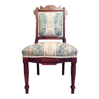 Antique Carved Oak Arts & Crafts Style Upholstered Accent Chair