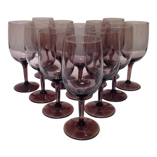 Vintage Smokey Purple Glass Wine Goblets