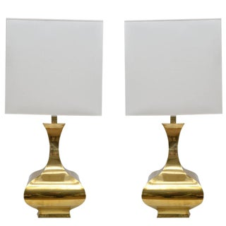 Tall Solid Brass Vessel Shape Table Lamps, a Pair