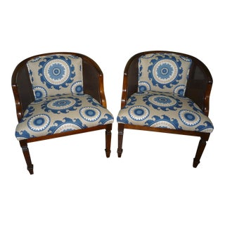 FlexSteel Blue Medallion Barrel Chairs - A Pair