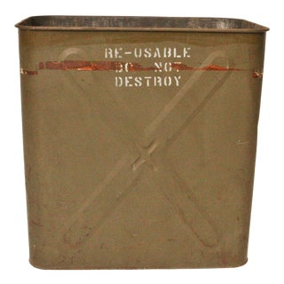 Vintage Military Drab Green Steel Trash Can