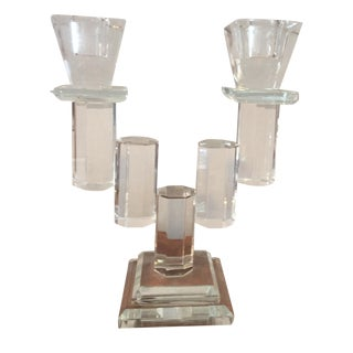 Double Cut Crystal Candlestick Holder
