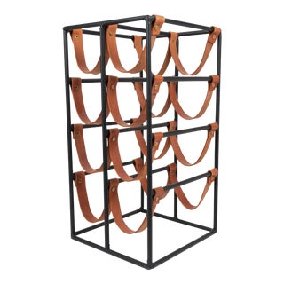 Arthur Umanoff Iron & Leather 8- Bottle Wine Rack for Shaver Howard